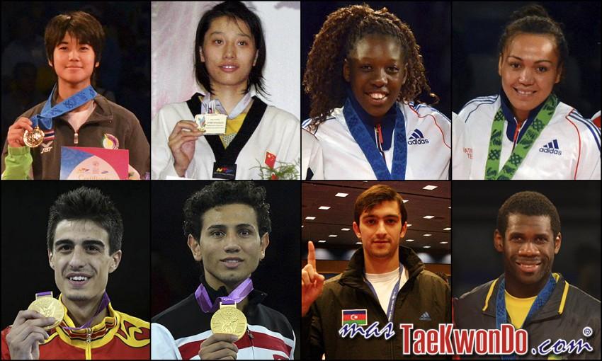 Chanapa Sonkham (THA), Yuzhuo Hou (CHN), Haby Niare (FRA), Anne-Caroline Graffe (FRA), Joel Gonzalez (ESP), Servet Tazegul (TUR), Ramin Azizov (AZE) y Anthony Obame (GAB). Números 1 – WTF World Olympic Ranking – Taekwondo WTF – Agosto 2013.
