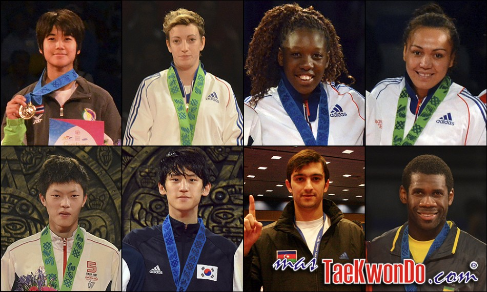Chanapa Sonkham (THA), Floriane Liborio (FRA), Haby Niare (FRA), Anne-Caroline Graffe (FRA), Chen Yang Wei (TPE), Daehoon Lee (KOR), Ramin Azizov (AZE) y Anthony Obame (GAB). Números 1 – WTF World Olympic Ranking – Taekwondo WTF – Septiembre 2013.