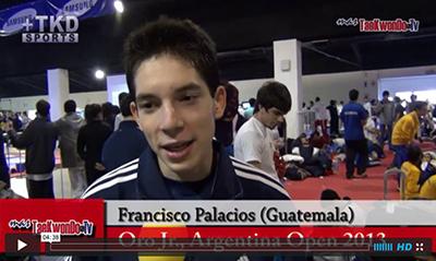 """""""MasTaekwondo TV"""" entrevistó al atleta Francisco Palacios de Guatemala, quien consiguió el pasado fin de semana (31 de agosto y 1 de septiembre), la medalla de Oro en la categoría juvenil -55 Kg. en el """"1er Argentina Open"""", realizado en la ciudad de Buenos Aires."""
