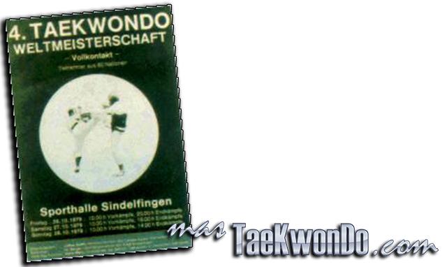 """El Cuarto Campeonato Mundial de Taekwondo se celebró en el estadio """"Sports Hall Sindelfingen"""" en Stuttgart (Alemania Occidental) del 26 al 28 de octubre de 1979, con la participación de 453 competidores masculinos y oficiales de 38 países."""