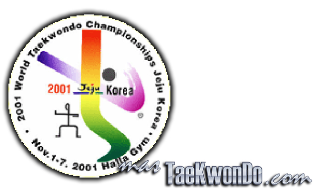 """El Décimo Quinto Campeonato Mundial de Taekwondo masculino y la octava edición del femenino se celebró en el estadio """"Halla Indoor Gymnasium"""" de Jeju (Corea del Sur) del 1 al 7 de Noviembre de 2001, con la participación de un total de 643 competidores de 90 países."""