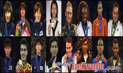 Los diez mejores ranqueados del mundo de cada categoría correspondientes al mes de Noviembre del 2013 según lo reflejado por la World Taekwondo Federation (WTF).