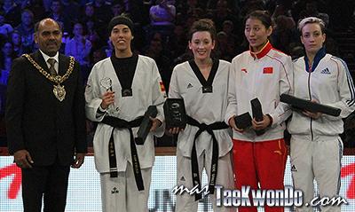 """Resultados parciales (1era jornada) del """"2013 World Taekwondo Grand Prix"""", que se está desarrollando en el estadio Manchester Central de esa ciudad en el Reino Unido de Gran Bretaña. Este evento de la WTF es catalogado como G-8."""