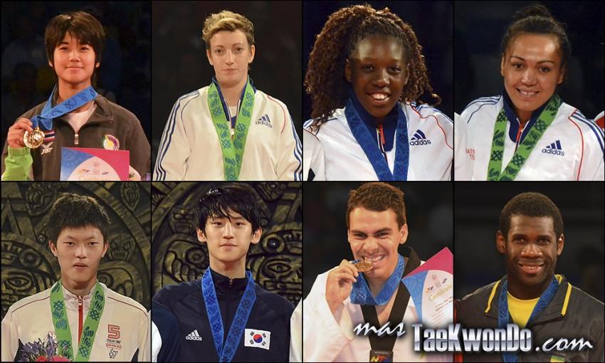 Chanapa Sonkham (THA), Floriane Liborio (FRA), Haby Niare (FRA), Anne-Caroline Graffe (FRA), Chen Yang Wei (TPE), Daehoon Lee (KOR), Uriel Avigdor Adriano Ruiz (MEX) y Anthony Obame (GAB). Números 1 – WTF World Olympic Ranking – Taekwondo WTF – Enero 2014.