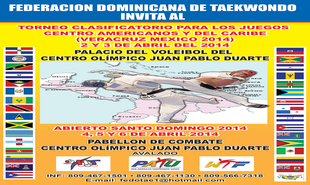 En el próximo mes de abril podremos disfrutar de un nuevo evento que sumará puntos para el Ranking oficial de la WTF, en este caso se llevará adelante en la capital de la bella República Dominicana.