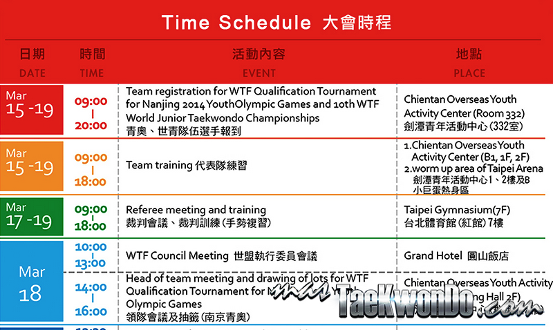 "Les presentamos el ""Cronograma Oficial"" de lo que será el ""Qualification Tournament for 2014 Nanjing Youth Olympic Games"" y el ""10th WTF World Junior Taekwondo Championships"" que abarca desde el 15 al 27 de marzo."