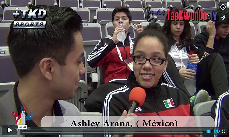 """""""MasTaekwondo TV"""" Entrevistó a Ashley Arana de México, quien tras conseguir una plaza para su país a los Juegos Olímpicos de la Juventud """"Nanjing 2014"""", se consagró medalla de Bronce en el Campeonato Mundial Juvenil teniendo una doble alegría."""