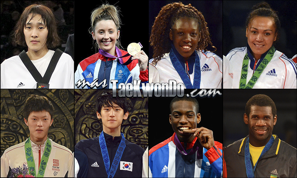 Sohui Kim (KOR), Jade Jones (GBR), Haby Niare (FRA), Anne-Caroline Graffe (FRA), Chen Yang Wei (TPE), Daehoon Lee (KOR), Lutalo Muhammad (GBR) y Anthony Obame (GAB). Números 1 – WTF World Olympic Ranking – Taekwondo WTF – Mayo 2014.