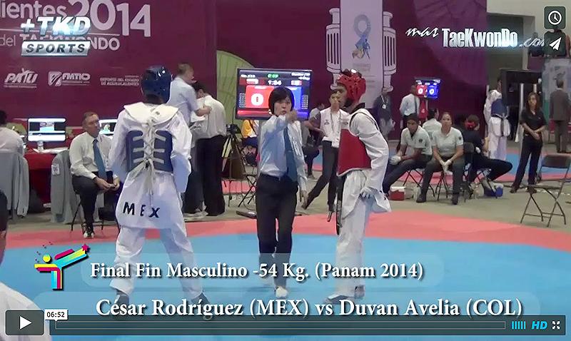 Final de la división FIN Masculino -54 Kg. Cesar Rodríguez (MEX) vs. Duvan Avella (COL)