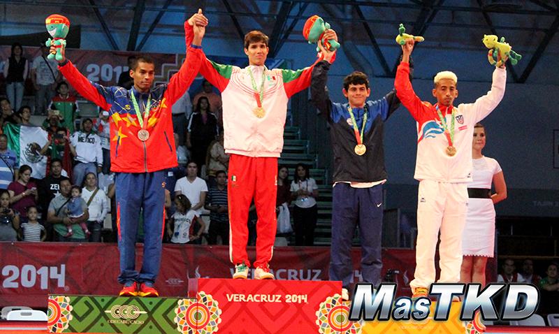 Podio Taekwondo en JCC Veracruz 2014 M-54 Kg.