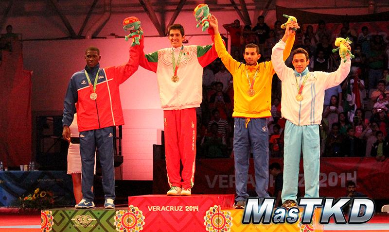 Podio Taekwondo en JCC Veracruz 2014 M-63 Kg.