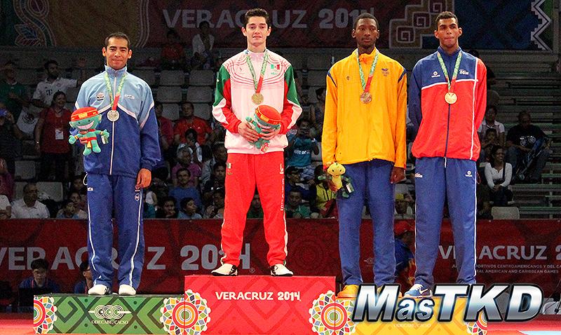 Podio Taekwondo en JCC Veracruz 2014 M-80 Kg.