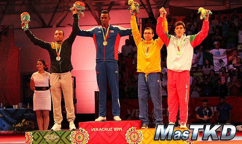 Podio Taekwondo en JCC Veracruz 2014 M-87 Kg.