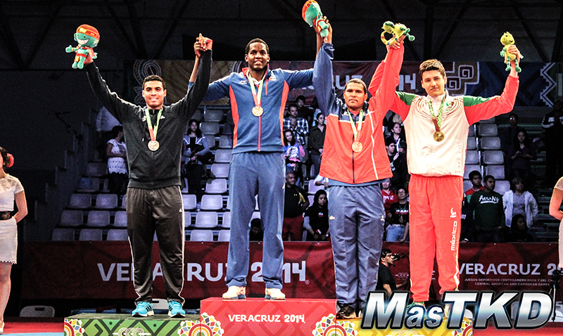 Podio Taekwondo en JCC Veracruz 2014 M+87 Kg.