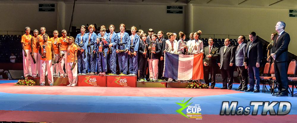 Podio Equipos Femeninos en la copa del Mundo por Equipos de Taekwondo