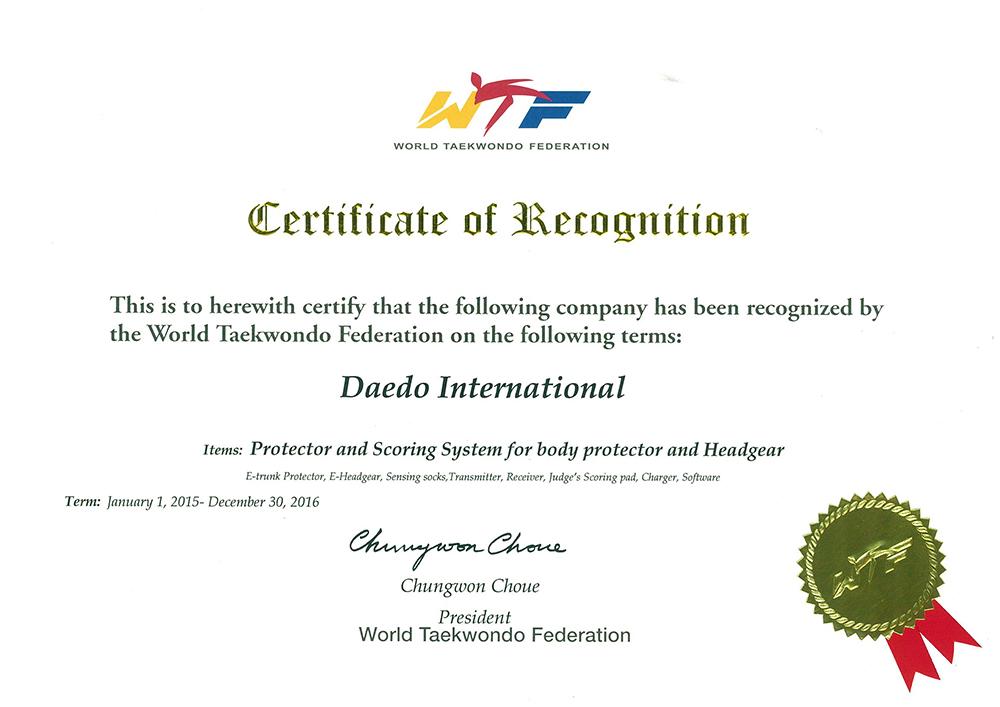 Daedo Certificate WTF PSS 2015-2016