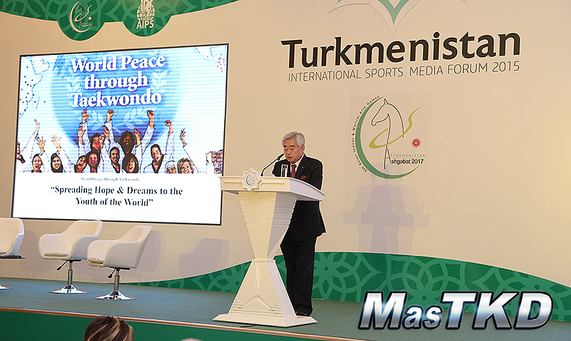 WTF-President-Chungwon-Choue-presents-Sport-Peace-Corps-at-TISMF-2015