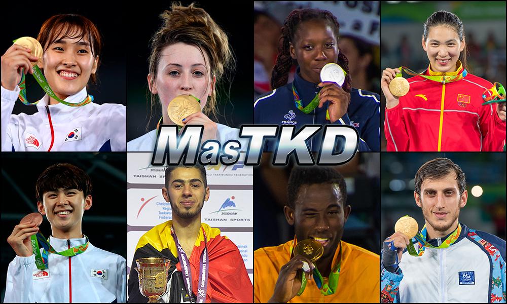 So-hui Kim (KOR), Jade Jones (GBR), Haby Niare (FRA), Shuyin Zheng (CHN), Taehun Kim (KOR), Jaouad Achab (BEL), Cheick Sallah Cisse (CIV) y Radik Isaev (AZE). Números 1 – WTF World Olympic Ranking – Taekwondo WTF – Noviembre 2016.
