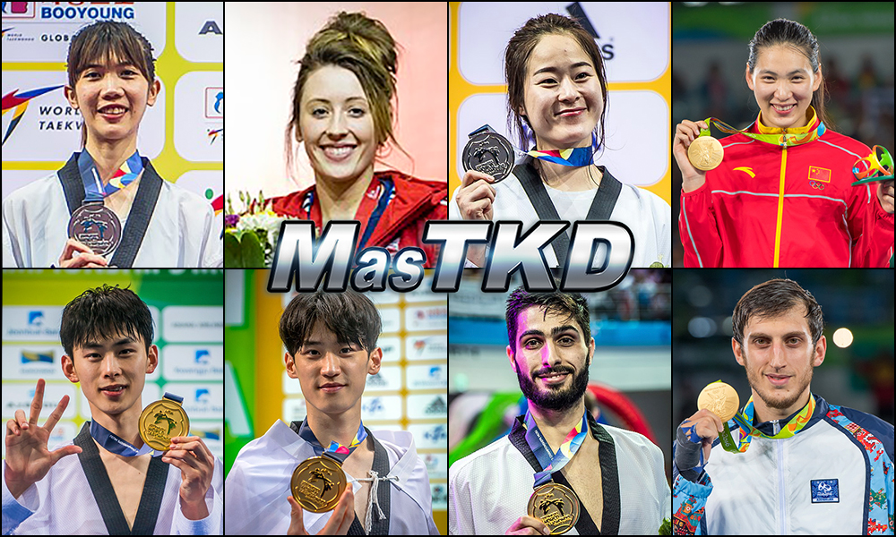 Panipak Wongpattanakit (THA), Jade Jones (GBR), Hyeri Oh (KOR), Shuyin Zheng (CHN), Taehun Kim (KOR), Dae-hoon Lee (KOR), Milad Beigi Harchegani (AZE) y Radik Isaev (AZE). Números 1 – WTF World Olympic Ranking – Taekwondo WTF – Agosto 2017.