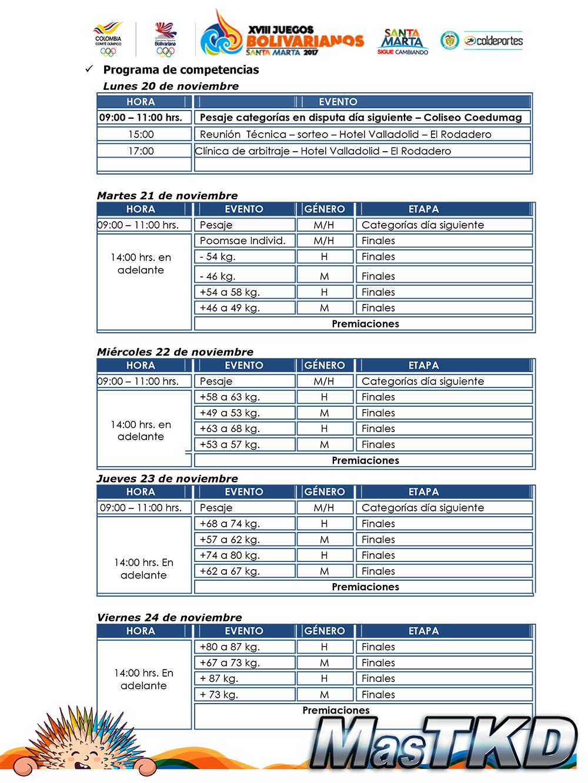 Cronograma_Taekwondo_Juegos-Bolivarianos-Santa-Marta
