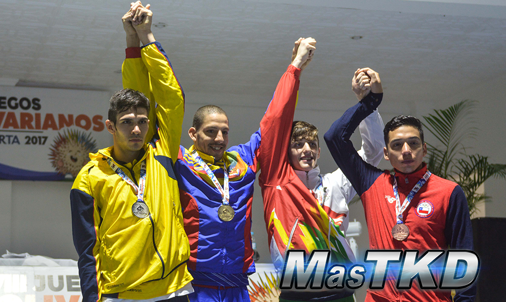 Podio_M-80_XVIII Juegos Bolivarianos Santa Marta 2017 - Taekwondo