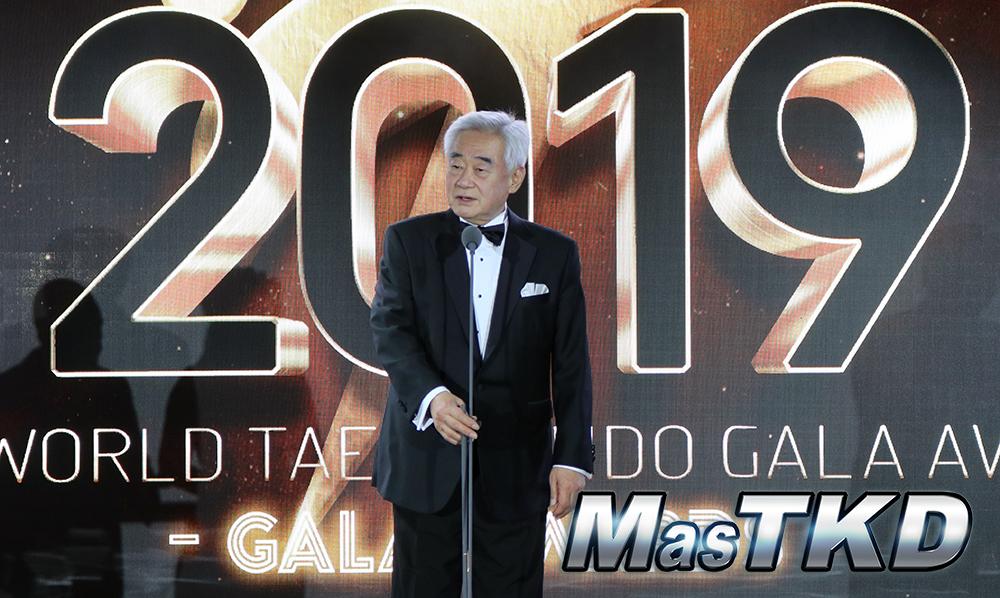 Chungwon Choue, presidente de WT, en la ceremonia de Gala del 2019, en Moscú. Foto: Claudio Aranda/MasTKD.com