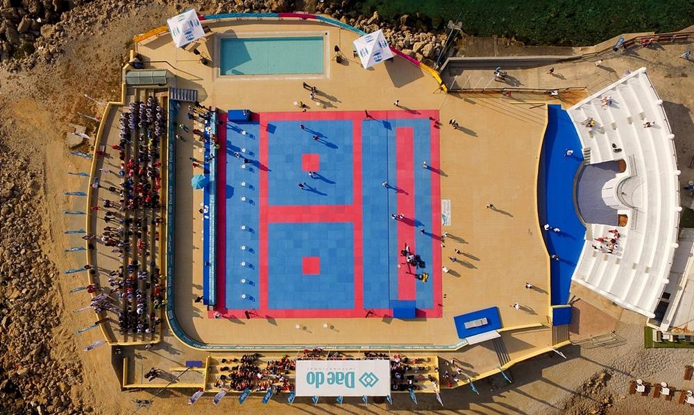 venue_droneclosup_Rhodes-2018_World-Taekwondo-Beach-Championships